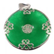 Green Jade & Sterling Silver Chinese Round Ring Pendant